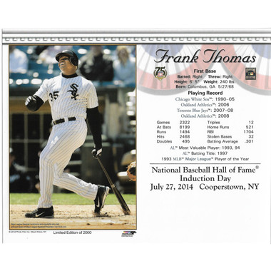 Frank Thomas Chicago White Sox 2014 Hall of Fame Induction 8x10 Photocard