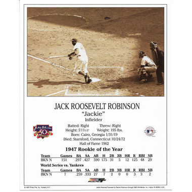 Jackie Robinson Brooklyn Dodgers 50th Anniversary 8x10 Photocard (Batting)