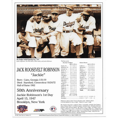 Jackie Robinson Brooklyn Dodgers 50th Anniversary 8x10 Photocard (Dugout)