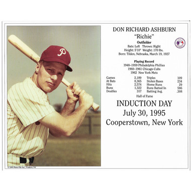 Richie Ashburn Philadelphia Phillies 1995 Hall of Fame Induction 8x10 Photocard