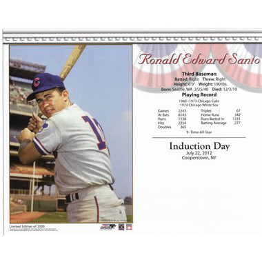 Ron Santo Chicago Cubs 2012 Hall of Fame Induction 8x10 Photocard