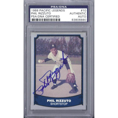 Phil Rizzuto Autographed Card 1988 Pacific # 10 (PSA-80)