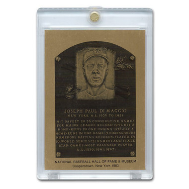 Joe Dimaggio 1983 Hall of Fame Metallic Plaque Card
