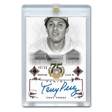 Tony Perez Autographed Card 2014 Panini Cooperstown HOF 75th Anniversary Red # 49 Ltd Ed of 50