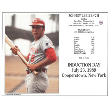 Johnny Bench Cincinnati Reds 1989 Hall of Fame Induction 8x10 Photocard