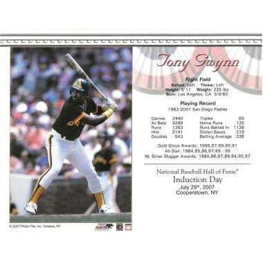 Tony Gwynn San Diego Padres 2007 Hall of Fame Induction 8x10 Photocard