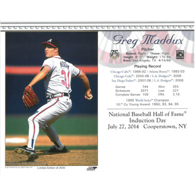 Greg Maddux Atlanta Braves 2014 Hall of Fame Induction 8x10 Photocard