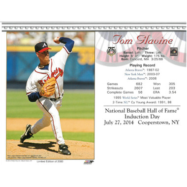 Tom Glavine Atlanta Braves 2014 Hall of Fame Induction 8x10 Photocard