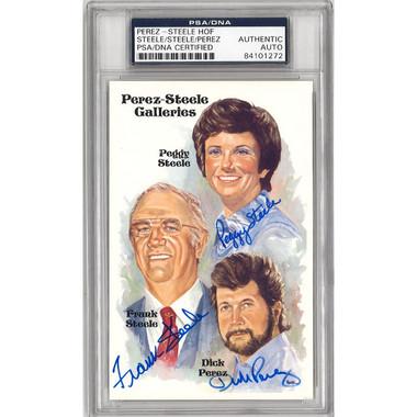 Perez-Steele Family Autographed Perez-Steele HOF Series Postcard (PSA-72)