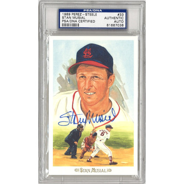 Stan Musial Autographed Perez-Steele Celebration Series Postcard # 33 (PSA-38)