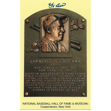 Yogi Berra Autographed Hall of Fame Plaque Postcard (JSA-20)