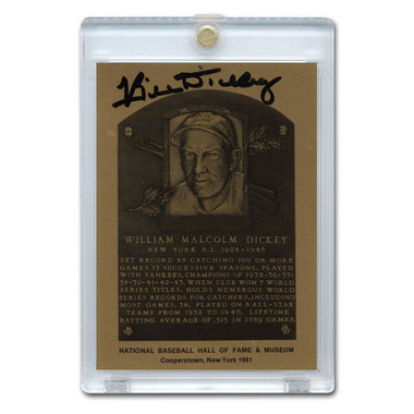 Bill Dickey Autographed Metallic Hall of Fame Plaque Card (JSA-65)
