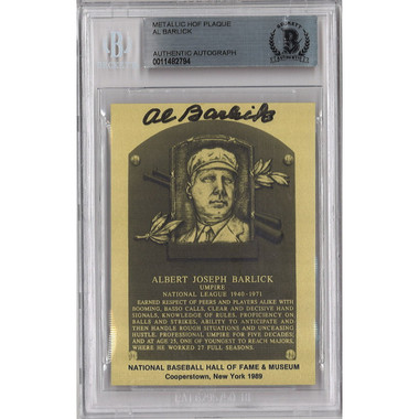 Al Barlick Autographed Metallic Hall of Fame Plaque Card (Beckett-94)