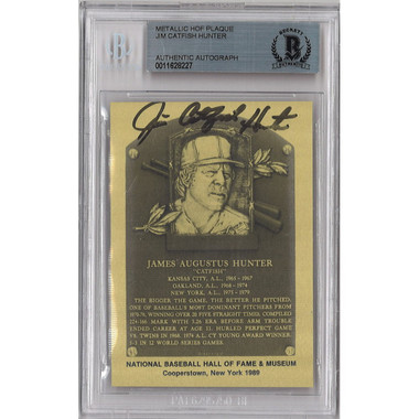 Catfish Hunter Autographed Metallic Hall of Fame Plaque Card (Beckett-27)