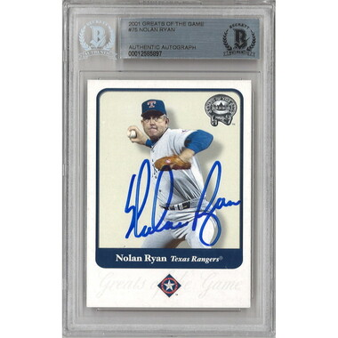 Nolan Ryan Autographed Card 2001 Fleer Greats of the Game # 75 (Beckett)