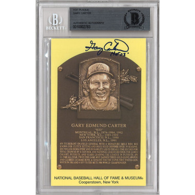 Gary Carter Autographed Hall of Fame Plaque Postcard (Beckett-83)