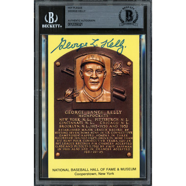 George Kelly Autographed Hall of Fame Plaque Postcard (Beckett-21)