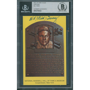 Bill Terry Autographed Hall of Fame Plaque Postcard (Beckett-33)
