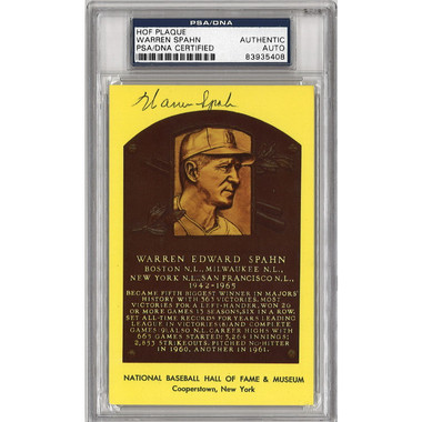 Warren Spahn Autographed Hall of Fame Plaque Postcard (PSA-08)