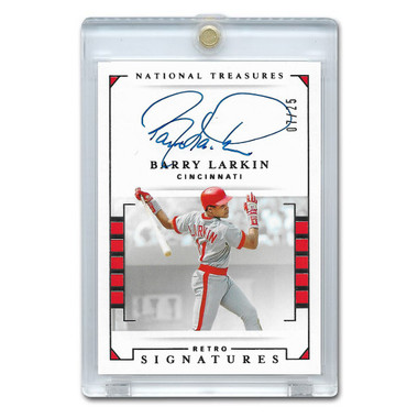 Barry Larkin Autographed Card 2020 Panini National Treasures Retro Signatures Ltd Ed of 25