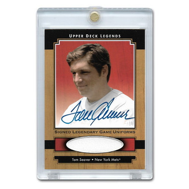 Tom Seaver Autographed Card 2001 Upper Deck Legends Legendary Game Uniforms # SJ-TS