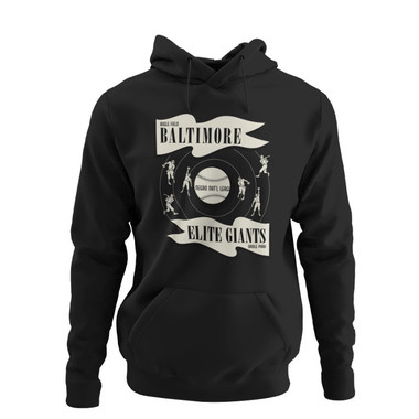 Unisex Teambrown Negro National League Baltimore Elite Giants Premium Black Hooded Sweatshirt