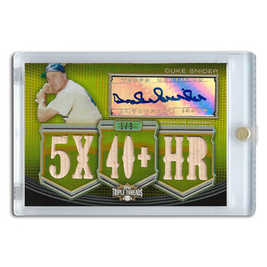 Duke Snider Autographed Card 2010 Topps Triple Threads Relics Gold #4 Ltd Ed of 9