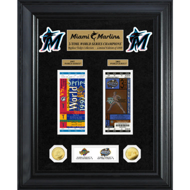 Highland Mint Miami Marlins World Series Deluxe Framed Gold Coin & Ticket Collection