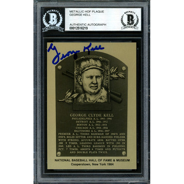 George Kell Autographed Metallic Hall of Fame Plaque Card (Beckett-19)