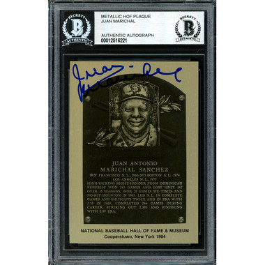 Juan Marichal Autographed Metallic Hall of Fame Plaque Card (Beckett-21)