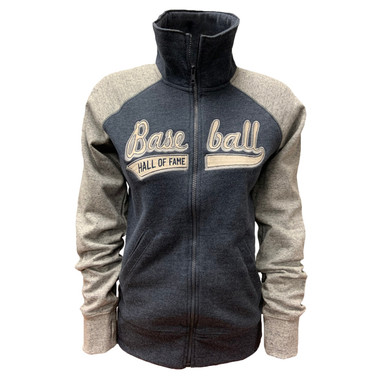 Women's Baseball Hall of Fame Heather Navy and Grey Fleece Track Jacket