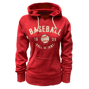 Women's Baseball Hall of Fame Red Heather Popshot Fleece Pullover Hood