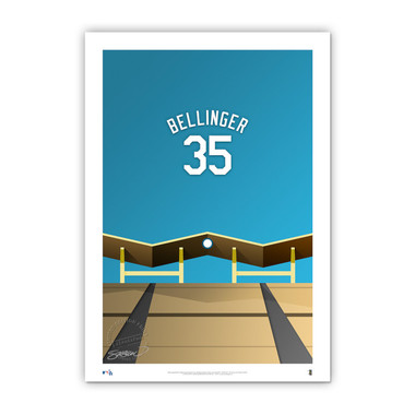 Cody Bellinger Minimalist Dodger Stadium Player Series 14 x 20 Fine Art Print by artist S. Preston Ltd Ed of 50