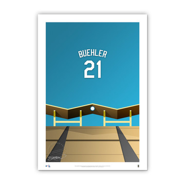 Walker Buehler Minimalist Dodger Stadium Player Series 14 x 20 Fine Art Print by artist S. Preston Ltd Ed of 50