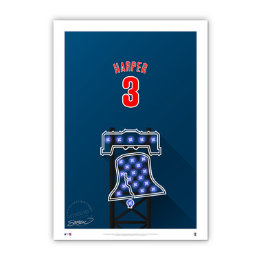 Bryce Harper Minimalist Citizens Bank Park Player Series 14 x 20 Fine Art Print by artist S. Preston Ltd Ed of 50