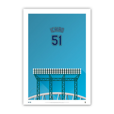 Ichiro Suzuki Minimalist T-Mobile Park Player Series 14 x 20 Fine Art Print by artist S. Preston Ltd Ed of 50