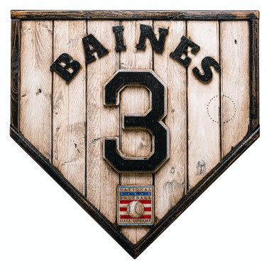 Harold Baines Hall of Fame Vintage Distressed Wood 17 Inch Legacy Home Plate Ltd Ed of 250