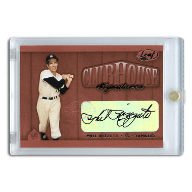 Phil Rizzuto Autographed Card 2002 Leaf Clubhouse Signature Bronze Ltd Ed of 25