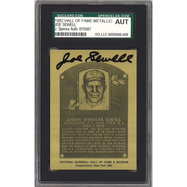 Joe Sewell Autographed Metallic Hall of Fame Plaque Card (JSA-06)