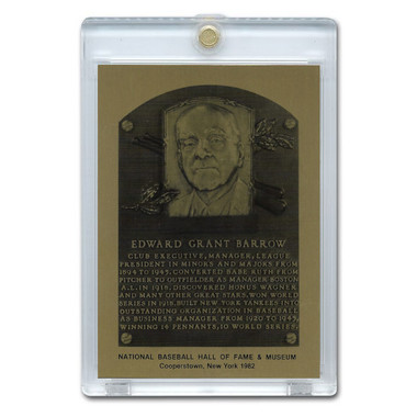 Ed Barrow 1982 Hall of Fame Metallic Plaque Card