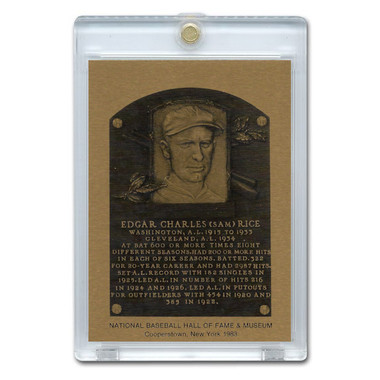 Sam Rice 1983 Hall of Fame Metallic Plaque Card
