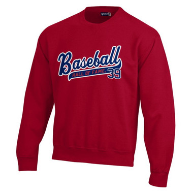 Baseball Hall of Fame Script Applique Dark Red Crewneck Sweatshirt