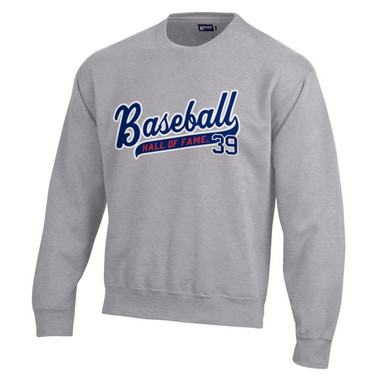 Baseball Hall of Fame Script Applique Oxford Grey Crewneck Sweatshirt