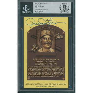 Rollie Fingers Autographed Hall of Fame Plaque Postcard (Beckett-77)