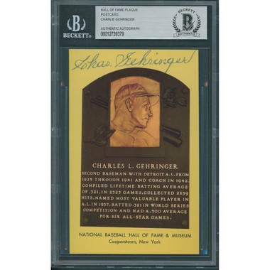 Charlie Gehringer Autographed Hall of Fame Plaque Postcard (Beckett-79)