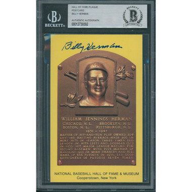 Billy Herman Autographed Hall of Fame Plaque Postcard (Beckett-92)