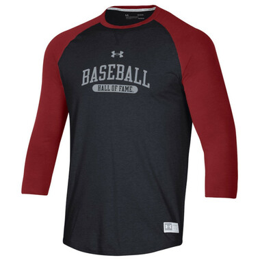 Men's Under Armour Baseball Hall of Fame Gameday Cardinal and Heather Black ¾ Sleeve T-Shirt