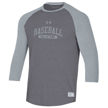 Men's Under Armour Baseball Hall of Fame Gameday Steele and Heather Gray ¾ Sleeve T-Shirt