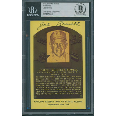 Joe Sewell Autographed Hall of Fame Plaque Postcard (Beckett-12)
