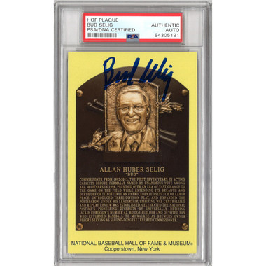 Bud Selig Autographed Hall of Fame Plaque Postcard (PSA-91)